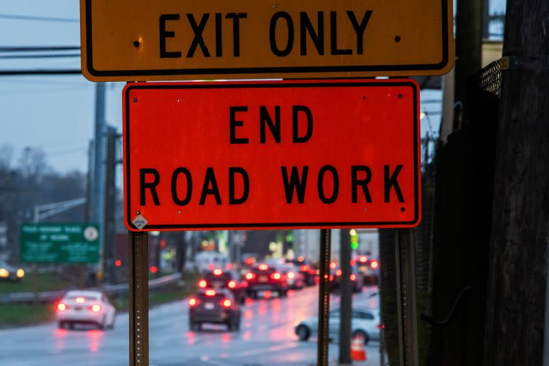 Cars drive along Tonnele Ave at the end of a road work in Union City, New Jersey