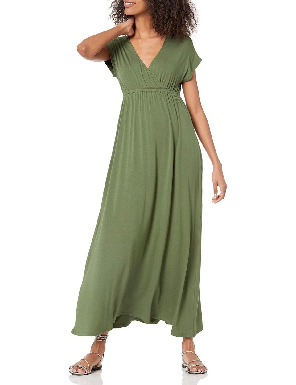 """<h2>Amazon Essentials Surplice Maxi Dress<br></h2><br><strong><em>The ... Well, The Essential</em></strong><br><br>While this ultra-simple dress isn't winning any design awards, it is winning rave reviews from over a thousand highly satisfied customers. Reviewers say it's the type of frock that can be transformed into almost any look with the right accessories, and wears with the utmost elegance and ease.<br><br><strong>The Hype: </strong>4.5 out of 5 stars; 1,223 reviews on Amazon.com<br><br><strong>What They're Saying: </strong>""""This dress is everything I wanted and nothing I don't. Simple, drapes well. The material is your standard summer maxi stretchy matte cotton. The v isn't so deep that you need a cami to cover cleavage at work. The sleeves are long enough to not be sleeveless but close enough to be cool. The arm holes are blessedly normal-sized and not gaping. I'm a 40"""" bust and 16 - 18 in clothes, and the XL fits me really well. The top might be a tad loose, the L would probably fit as well, but I like it, it's comfortable. Might buy a few more in other colors!"""" — edoug, Amazon.com reviewer<br><br><strong>Amazon Essentials</strong> Surplice Maxi Dress, $, available at <a href=""""https://www.amazon.com/gp/product/B08JH4ZH69?"""" rel=""""nofollow noopener"""" target=""""_blank"""" data-ylk=""""slk:Amazon"""" class=""""link rapid-noclick-resp"""">Amazon</a>"""