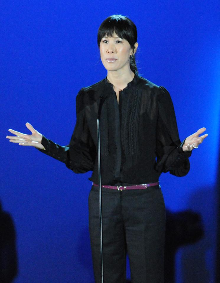 "Laura Ling speaks at the ""A Decade of Difference"" concert on October 15, 2011, at the Hollywood Bowl, Los Angeles. <br><br>(Photo by Stephanie Cabral/Yahoo!)"