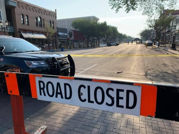 A section of Whyte Avenue was closed Wednesday morning as police investigated. (David Bajer/CBC - image credit)