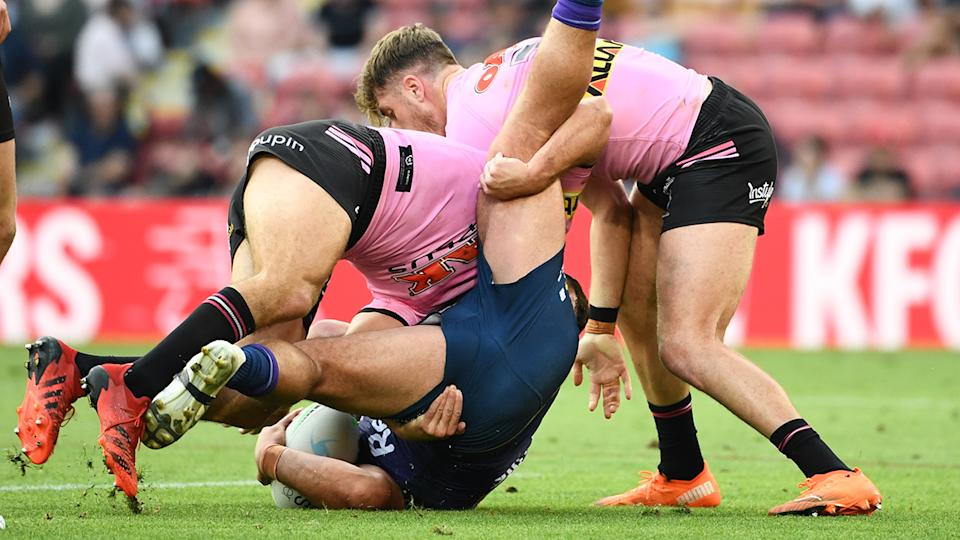 Nathan Cleary, pictured here making his controversial tackle on Kenny Bromwich.