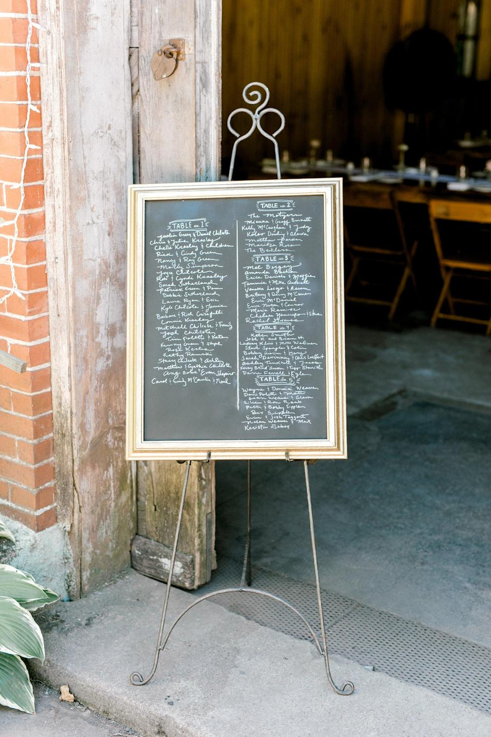 """<p>Find a chalkboard, a frame, and something to hold them up to re-create this easy <a class=""""link rapid-noclick-resp"""" href=""""https://www.popsugar.com/latest/DIY"""" rel=""""nofollow noopener"""" target=""""_blank"""" data-ylk=""""slk:DIY"""">DIY</a> masterpiece. The best part about this decor piece is that you can erase it any time so it can go from a seating chart to a dinner menu and more.</p>"""