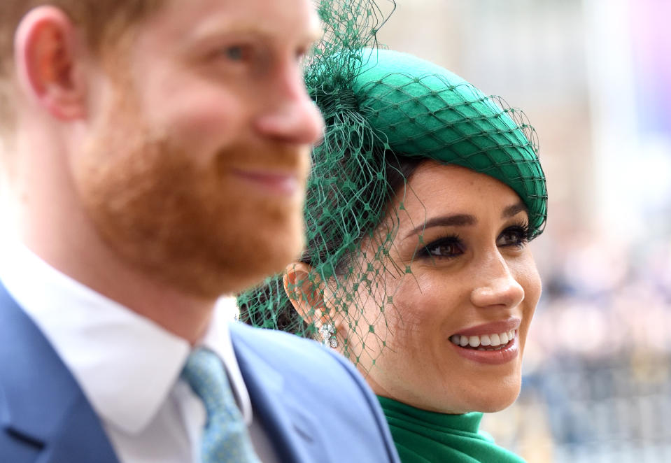Prince Harry, Duke of Sussex and Meghan, Duchess of Sussex attend the Commonwealth Day Service 2020 at Westminster Abbey on March 09, 2020 in London, England. (Photo by Karwai Tang/WireImage)