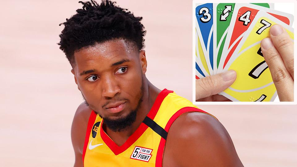 Pictured here, Donovan Mitchell has been trying to settle an UNO argument in his family.