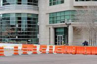 Barricades are in place outside the Buzz Westfall Justice Center in Clayton, Missouri, on November 24, 2014 (AFP Photo/Michael B. Thomas)