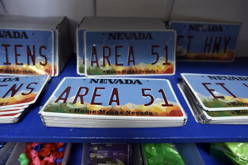 RACHEL, NEVADA - JULY 22: Alien and Area 51 themed gifts are displayed for sale at the Little A'le'Inn restaurant and gift shop on July 22, 2019 in Rachel, Nevada. A Facebook event entitled,