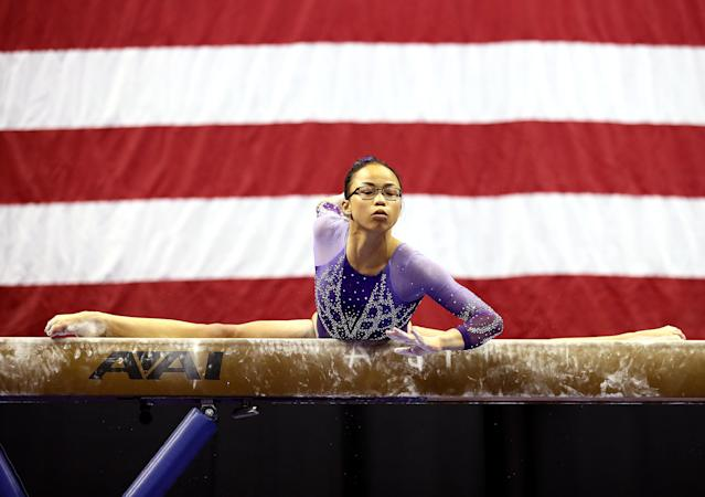 Morgan Hurd, the former all-around world champion, was chosen as a non-traveling alternate for Team USA at the world championships next month. (Jamie Squire/Getty Images)