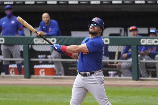 Chicago Cubs' Kyle Schwarber watches his foul ball during the first inning of a baseball game against the Chicago White Sox Chicago Cubs in Chicago, Sunday, Sept. 27, 2020. (AP Photo/Nam Y. Huh)
