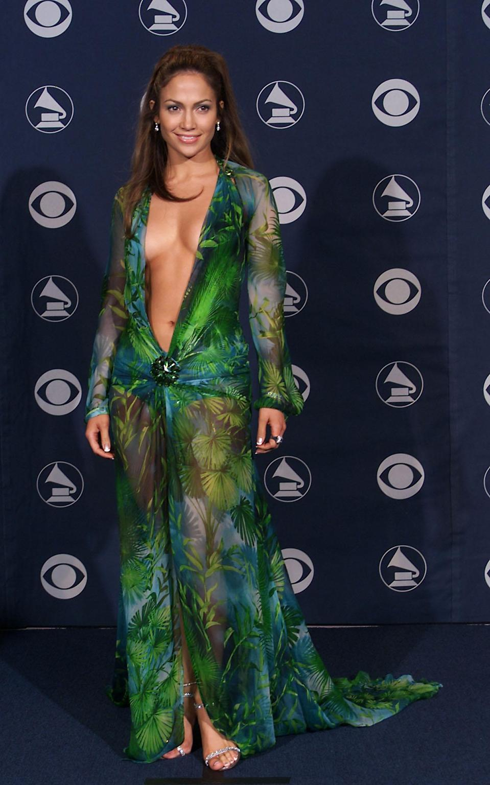 Jennifer Lopez wears her famous Versace dress at the 42nd Grammy Awards on Feb. 23, 2000, in Los Angeles. (Photo: Scott Gries/ImageDirect)