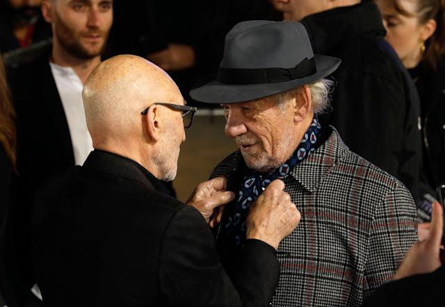 Sir Patrick Stewart (left) and Sir Ian McKellen attending the Star Trek: Picard Premiere held at the Odeon Luxe Leicester Square, London. (Photo by David Parry/PA Images via Getty Images)