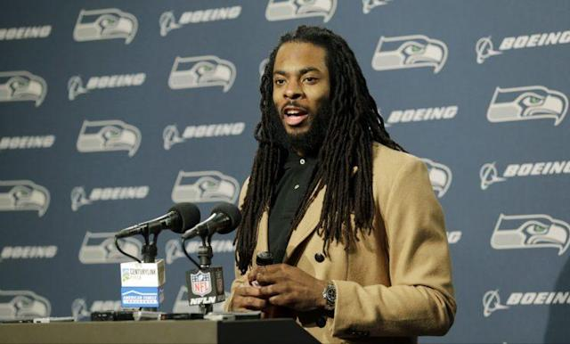 """Richard Sherman said a story that portrayed a rift between him and Russell Wilson is """"nonsense."""" (AP)"""