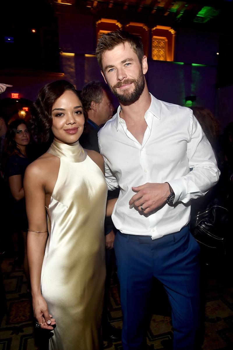 HOLLYWOOD, CA - OCTOBER 10: Actors Tessa Thompson (L) and Chris Hemsworth at The World Premiere of Marvel Studios' 'Thor: Ragnarok' at the El Capitan Theatre on October 10, 2017 in Hollywood, California. (Photo by Alberto E. Rodriguez/Getty Images for Disney)
