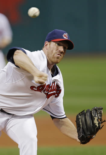 Cleveland Indians starting pitcher Zach McAllister delivers against the Houston Astros in the first inning of a baseball game on Friday, Sept. 20, 2013, in Cleveland. (AP Photo/Mark Duncan)