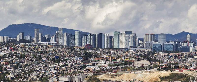 skyline of santa fe commercial, university, financial and residential modern east district of Mexico City
