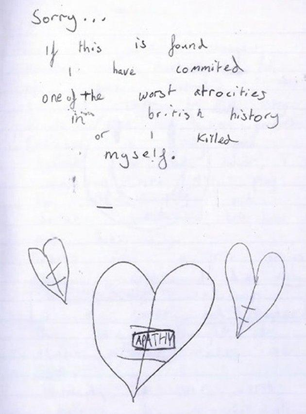 Page from a diary kept by the older boy in which he discussed his motivations for wanting to carry out a mass shooting.