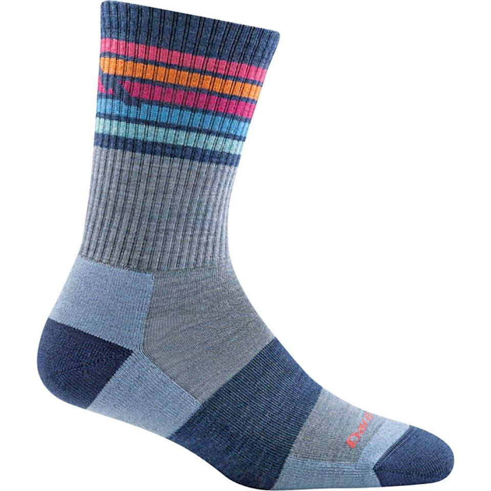 """<h3>Darn Tough Kelso Micro Crew Light Cushion Sock</h3> <br>You may think that any old sock in your drawer will suffice, but if you're going on a long hike, your tired tootsies will be the first to feel it. A cushioned sock will provide feet the support they need to take you far.<br><br><strong>Darn Tough</strong> Kelso Micro Crew Light Cushion Sock, $, available at <a href=""""https://go.skimresources.com/?id=30283X879131&url=https%3A%2F%2Fwww.backcountry.com%2Fdarn-tough-kelso-micro-crew-light-cushion-sock-womens"""" rel=""""nofollow noopener"""" target=""""_blank"""" data-ylk=""""slk:Backcountry"""" class=""""link rapid-noclick-resp"""">Backcountry</a><br>"""