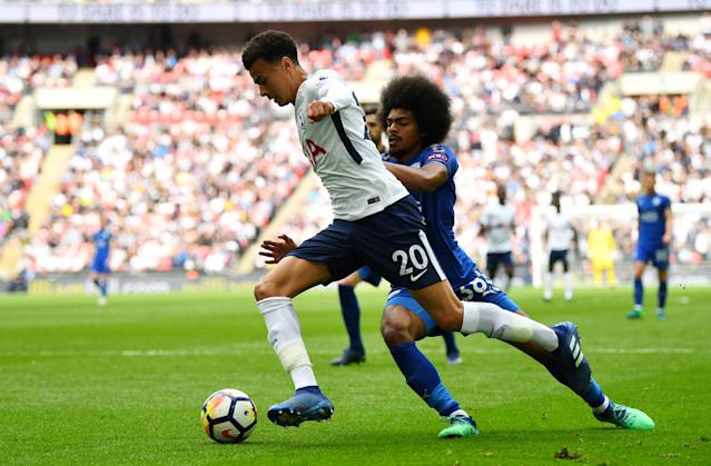 "Soccer Football - Premier League - Tottenham Hotspur vs Leicester City - Wembley Stadium, London, Britain - May 13, 2018 Tottenham's Dele Alli in action with Leicester City's Hamza Choudhury REUTERS/Dylan Martinez EDITORIAL USE ONLY. No use with unauthorized audio, video, data, fixture lists, club/league logos or ""live"" services. Online in-match use limited to 75 images, no video emulation. No use in betting, games or single club/league/player publications. Please contact your account representative for further details."