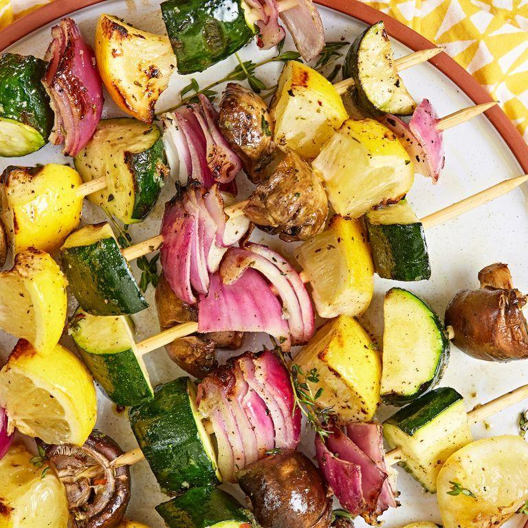 "<p>These kabobs have the *perfect* combination of flavours and textures. Serve them up with our ultimate <a href=""https://www.delish.com/uk/cooking/recipes/a31093320/jackfruit-burger/"" target=""_blank"">Vegan Pulled Jackfruit Burger</a> for a backyard vegetarian feast that even a carnivore couldn't turn down. </p><p>Get the <a href=""https://www.delish.com/uk/cooking/recipes/a33388598/veggie-kabobs/"" target=""_blank"">Veggie Kabobs</a> recipe.</p>"