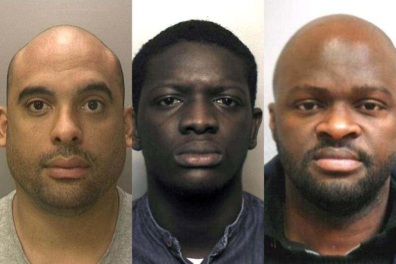 From left Eric Ocansey, Nicholas Adade and Obed Addo who have been sentenced for their parts in a fraud plot using online dating websites.