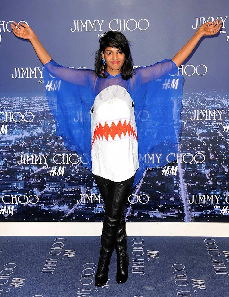 """M.I.A. tends to go overboard when it comes to dressing for A-list events, as she did at the Jimmy Choo for H&M launch in this shark-adorned blouse. Fishy, not fabulous. Jordan Strauss/<a href=""""http://www.wireimage.com"""" target=""""new"""">WireImage.com</a> - November 2, 2009"""