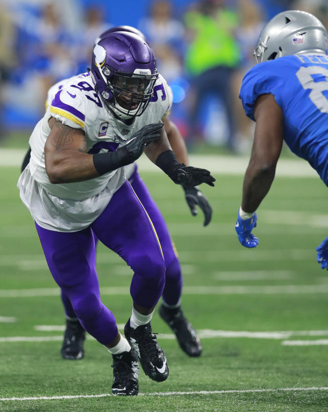 FILE - In this Nov. 23, 2017, file photo, Minnesota Vikings defensive end Everson Griffen (97) rushes in against the Detroit Lions during an NFL football game, in Detroit. For the Vikings, its more about whether Green Bay Packers' Aaron Rodgers will have his full bag of tricks while playing with a knee injury than if hell be playing at all. I dont know if hes mobile. I dont know if he can run. We dont know anything, Everson Griffen said. Were just going to go in with a game plan, that hes running and were going to go out there and execute our assignment.(Jeff Haynes/File)