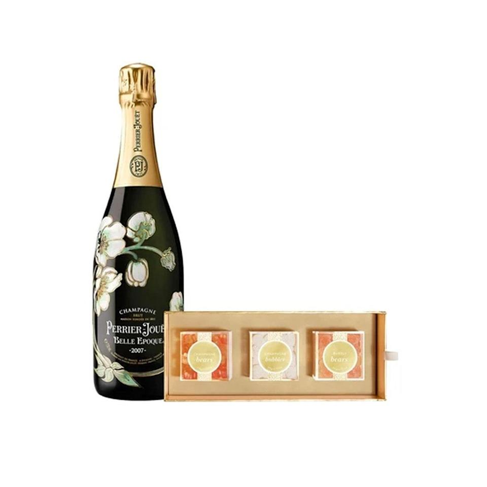 """Perrier-Jouët's Belle Epoque Vintage isn't your standard-issue bottle of wine—it's a delicious blend of Pinot Noir and Chardonnay, with a hint of mineral sparkle. And it comes with three champagne-inspired Sugarfina candy bento boxes, because why not? $247, Reserve Bar. <a href=""""https://www.reservebar.com/products/perrier-jouet-belle-epoque-vintage-with-sugarfina-cheers-3pc-candy-bento-box"""" rel=""""nofollow noopener"""" target=""""_blank"""" data-ylk=""""slk:Get it now!"""" class=""""link rapid-noclick-resp"""">Get it now!</a>"""