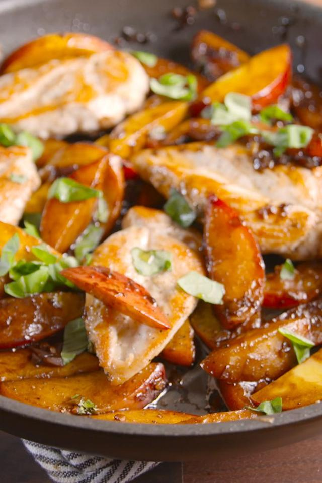 """<p>All you need is peaches to summer-ize your favorite weeknight dinner.</p><p>Get the recipe from <a href=""""/cooking/recipe-ideas/recipes/a47792/peach-balsamic-chicken-recipe/"""" target=""""_blank"""">Delish</a>.</p>"""