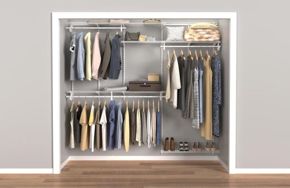 <p>The <span>Closetmaid ShelfTrack Closet Organizer Kit </span> ($203) extends from five to eight feet.</p>