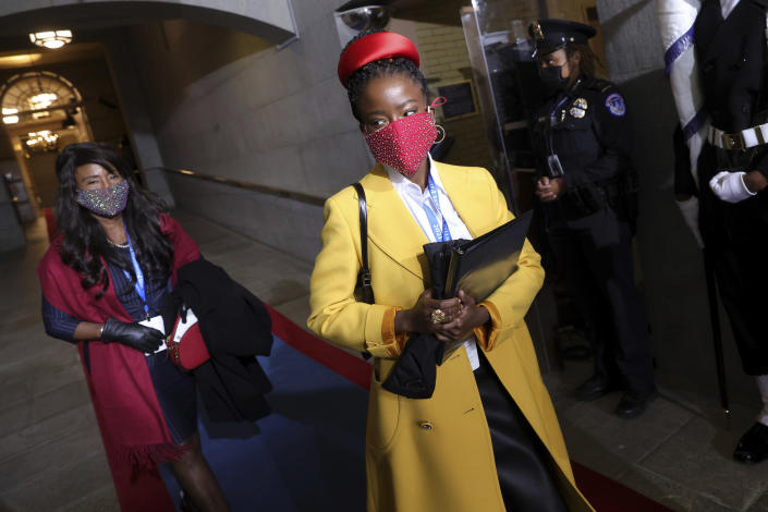 National youth poet laureate Amanda Gorman arrives at the inauguration of U.S. President-elect Joe Biden on the West Front of the U.S. Capitol on Wednesday, Jan. 20, 2021 in Washington. (Win McNamee/Pool Photo via AP)