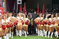 MIAMI GARDENS, FLORIDA - FEBRUARY 02: 49ers cheerleaders run onto the field during the Super Bowl LIV Pregame at Hard Rock Stadium on February 02, 2020 in Miami Gardens, Florida. (Photo by Kevin Mazur/WireImage)