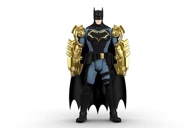 "<p>Disappointed by the Batman vs. Bane battle we got in <em>The Dark Knight Rises</em>? Stage your own version with this three-piece ""Battle in a Box"" set, starting with an armor-sporting Caped Crusader. (Photo: Mattel/Warner Bros.) </p>"