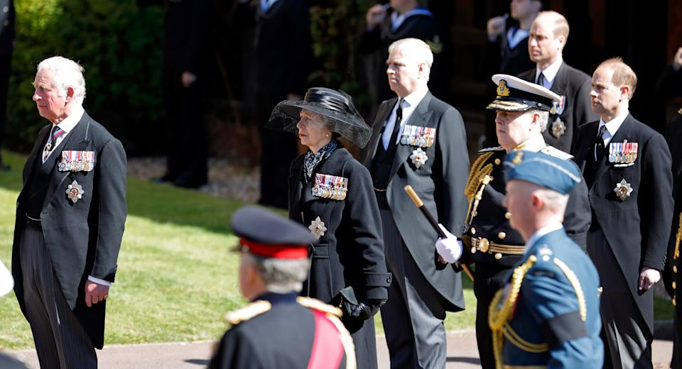 WINDSOR, UNITED KINGDOM - APRIL 17: (EMBARGOED FOR PUBLICATION IN UK NEWSPAPERS UNTIL 24 HOURS AFTER CREATE DATE AND TIME) Prince Charles, Prince of Wales, Princess Anne, Princess Royal, Prince Andrew, Duke of York, Prince William, Duke of Cambridge and Prince Edward, Earl of Wessex attend the funeral of Prince Philip, Duke of Edinburgh at St. George's Chapel, Windsor Castle on April 17, 2021 in Windsor, England. Prince Philip of Greece and Denmark was born 10 June 1921, in Greece. He served in the British Royal Navy and fought in WWII. He married the then Princess Elizabeth on 20 November 1947 and was created Duke of Edinburgh, Earl of Merioneth, and Baron Greenwich by King VI. He served as Prince Consort to Queen Elizabeth II until his death on April 9 2021, months short of his 100th birthday. His funeral takes place today at Windsor Castle with only 30 guests invited due to Coronavirus pandemic restrictions. (Photo by Pool/Max Mumby/Getty Images)
