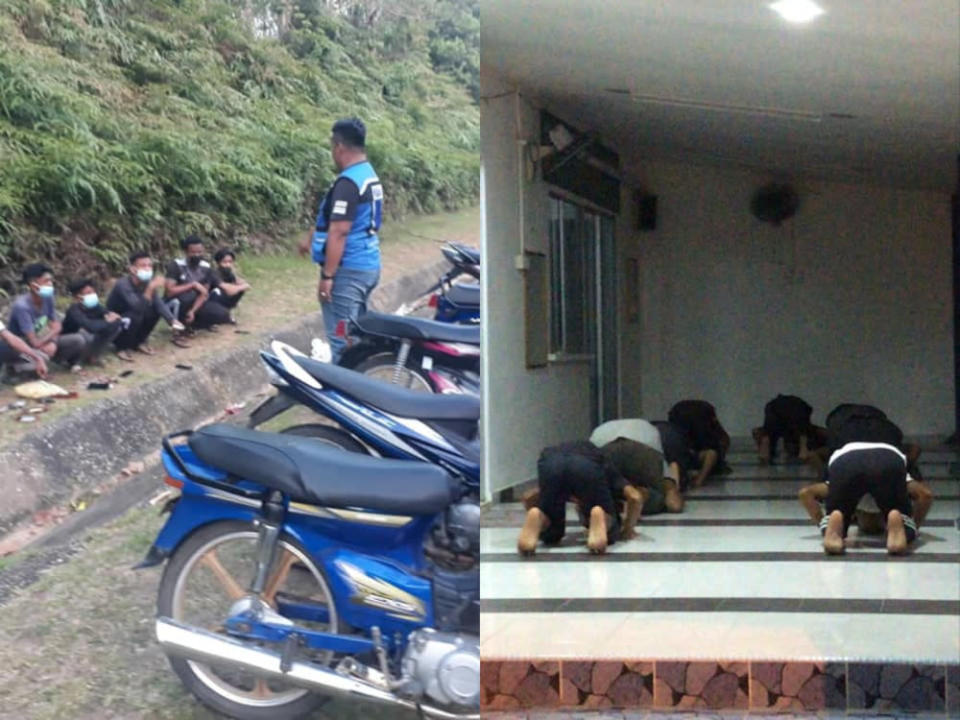 11 teenagers were nabbed by the Tanah Merah district police for multiple traffic violations, the group were then compelled to perform congregational Maghrib prayers. — Picture from Facebook/Polis Daerah Tanah Merah