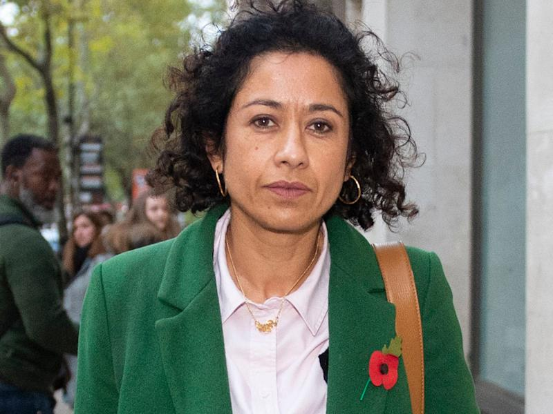Samira Ahmed leaves the central London Employment Tribunal: PA