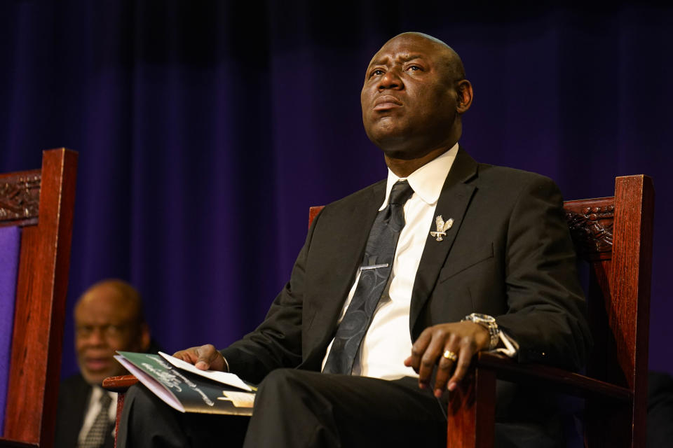 Attorney Benjamin L. Crump during funeral services for Daunte Wright at Shiloh Temple International Ministries in Minneapolis, Thursday, April 22, 2021. Wright, 20, was fatally shot by a Brooklyn Center, Minn., police officer during a traffic stop. (AP Photo/John Minchillo, Pool)