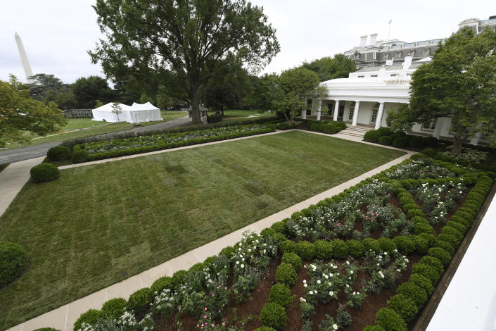 A view of the restored Rose Garden