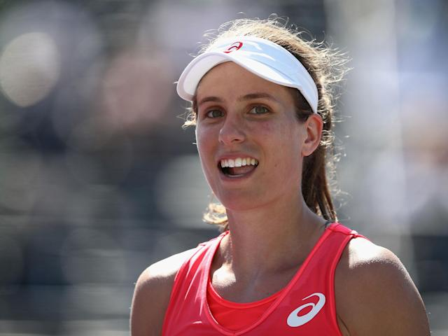 Johanna Konta is through to the Miami Open semi-finals after defeating Simona Halep: Getty