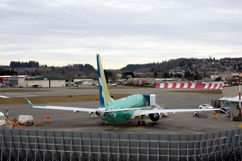 FILE PHOTO: A Boeing 737 MAX aircraft is parked at a Boeing production facility in Renton