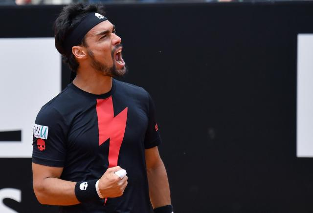 Fabio Fognini, of Italy, reacts as he plays Peter Gojowczyk, of Germany, at the Italian Open tennis tournament in Rome, Thursday, May 17, 2018. (Ettore Ferrari/ANSA via AP)