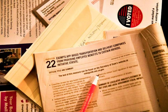 Election material is shown at a ballot Zoom party to go over measures up for a vote this election on October 15, 2020 in Los Angeles, California. (Photo by Rodin Eckenroth/Getty Images)
