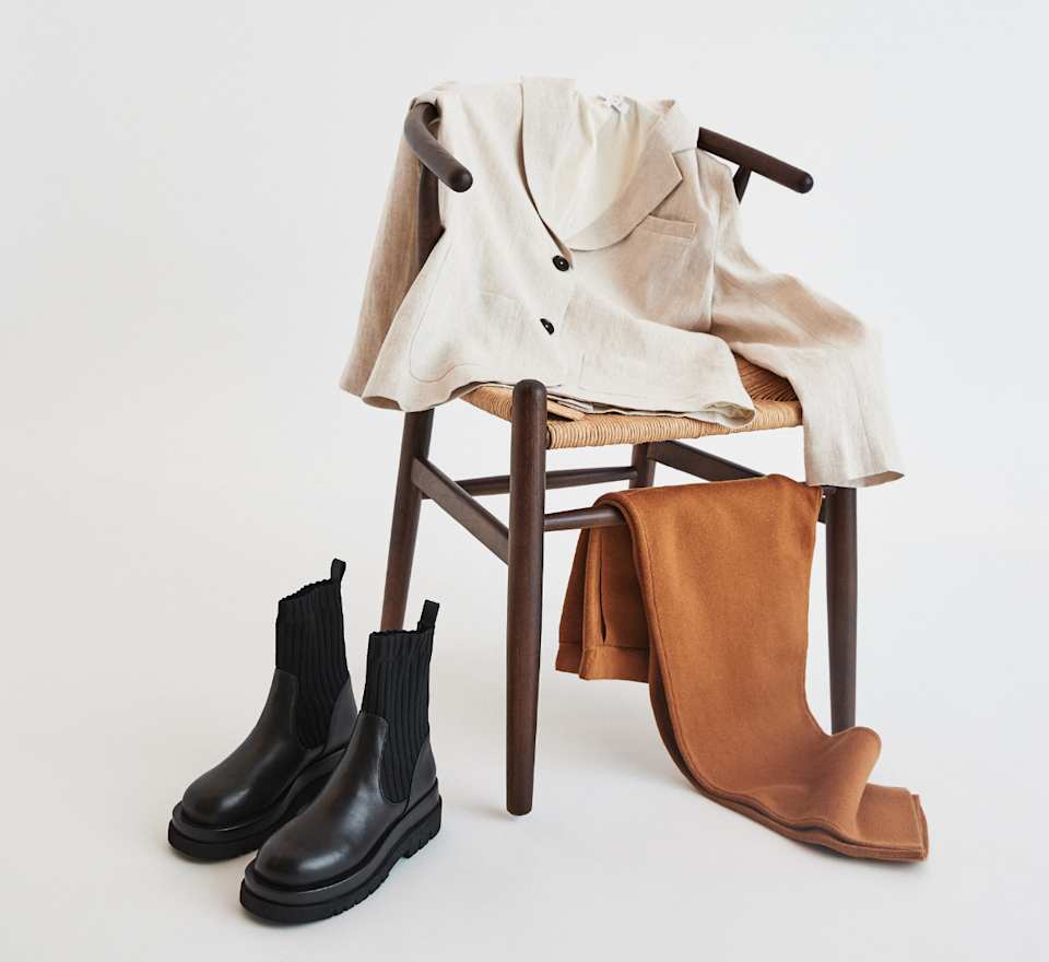 A blazer, boots and pants, all available via The Iconic x AirRobe. Source: Supplied