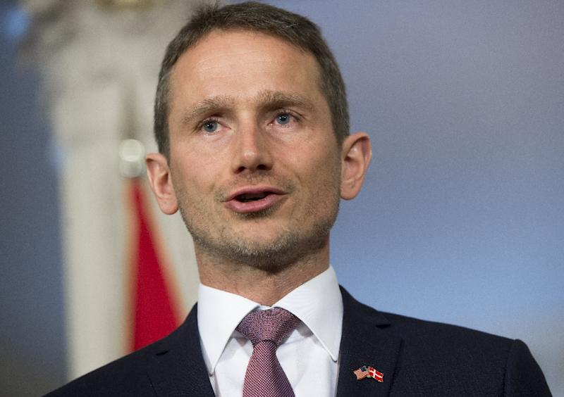 Danish Foreign Minister Kristian Jensen speaks to the media prior to a meeting with US Secretary of State John Kerry at the State Department in Washington, DC, March 9, 2016