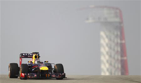 Sebastian Vettel of Germany drives during the first practice session of the Austin F1 Grand Prix at the Circuit of the Americas in Austin