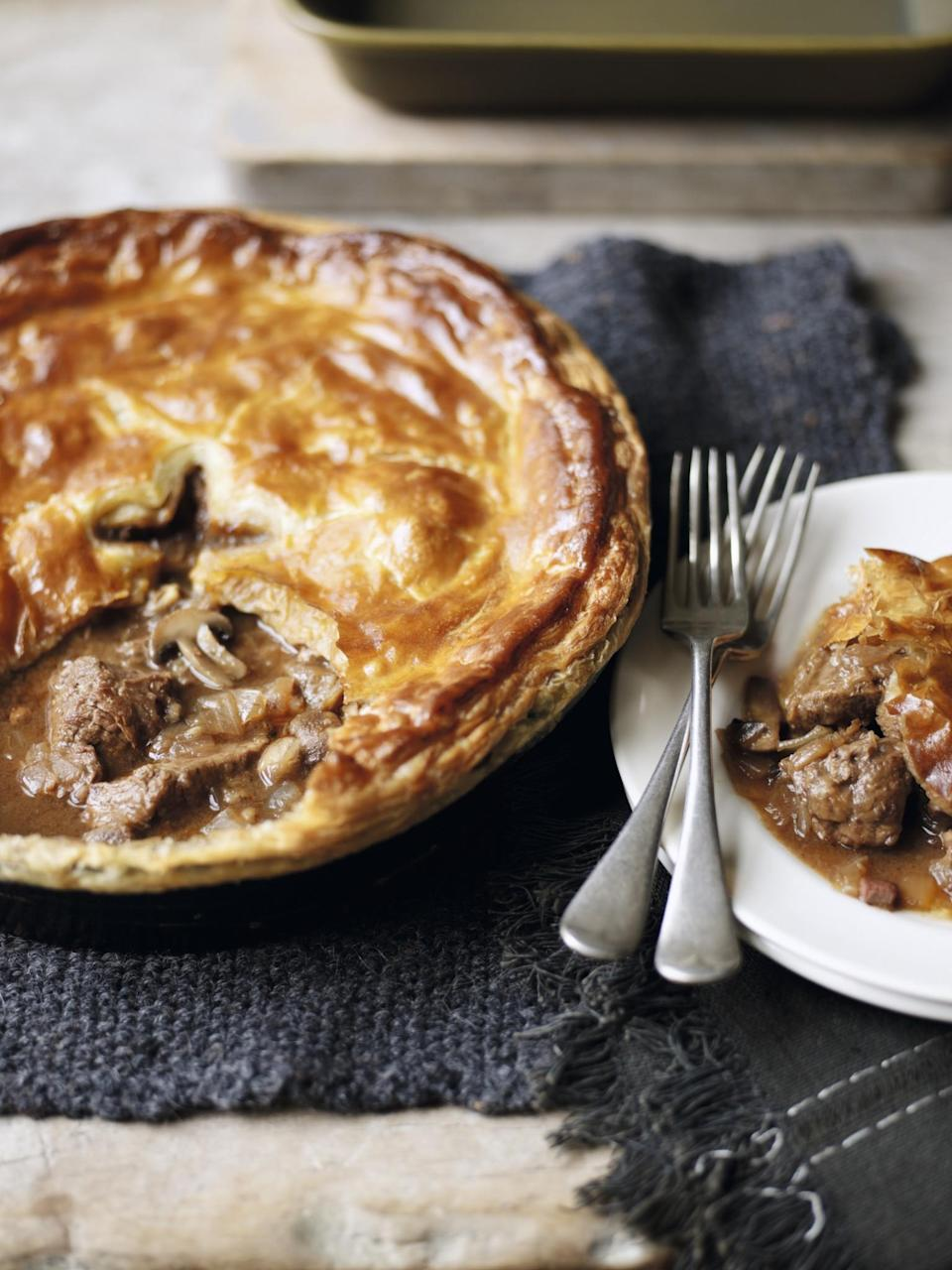 "<p>There isn't just Guinness in <a href=""http://www.waitrose.com/content/waitrose/en/home/recipes/recipe_directory/s/steak_and_guinness_pie.html"" rel=""nofollow noopener"" target=""_blank"" data-ylk=""slk:this version"" class=""link rapid-noclick-resp"">this version</a> of a classic pie, but a whole glass of red wine too. Cheers! [Photo: <a href=""http://www.waitrose.com/recipes"" rel=""nofollow noopener"" target=""_blank"" data-ylk=""slk:www.waitrose.com/recipes"" class=""link rapid-noclick-resp"">www.waitrose.com/recipes</a>] </p>"