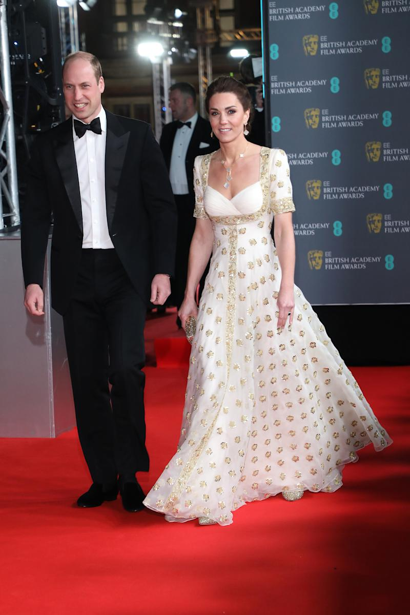 Prince William, Duke of Cambridge and Catherine, Duchess of Cambridge attend the EE British Academy Film Awards 2020 at Royal Albert Hall on February 02, 2020 in London, England.