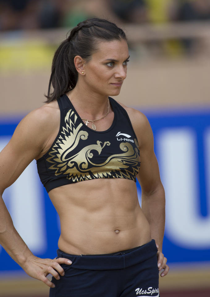 Woman's Pole Vaulter Yelena Isinbayeva prepares to jump at the Herculis International Athletism Meeting at Stade Louis II on July 20, 2012 in Monaco, Monaco.  (Photo by Didier Baverel/Getty Images)