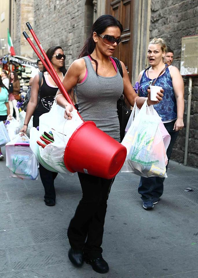 """Leave it to unofficial house mama JWoww to purchase cleaning supplies the """"Shore"""" crew will need for their stay abroad. Ditoj/<a href=""""http://www.splashnewsonline.com"""" target=""""new"""">Splash News</a> - May 14, 2011"""