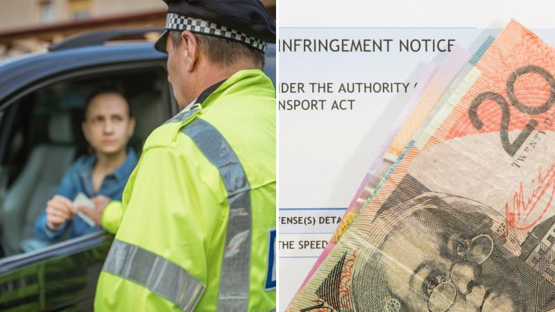 A driver receiving a ticket from a policeman on the left and Australian banknotes on top of a traffic fine notice on the right.