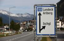 A road sign marks the ski resort of Ischgl