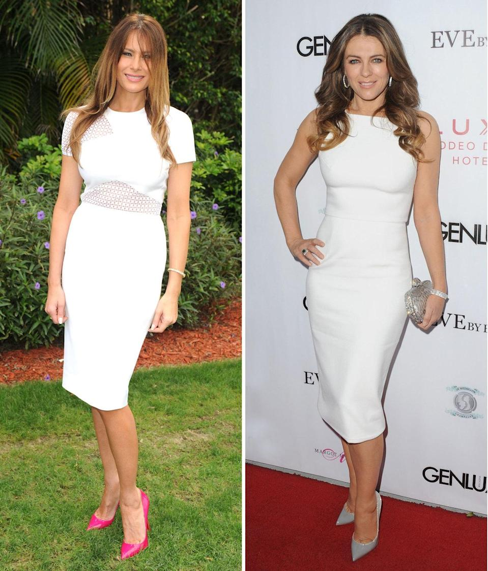 <p>A white sheath dress is the perfect way to look hot in the summer,<i> without </i>showing off too much of the goods. Trump and Hurley both favor this sophisticated yet demure silhouette, pairing it with bare legs, pointy pumps, and sparkly bracelets. <i>Photos: Getty</i><br></p>